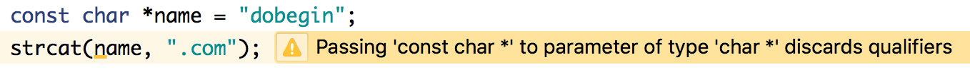 "code example with a warning: passing ""const char star"" to parameter of type ""char star"" discards qualifiers"